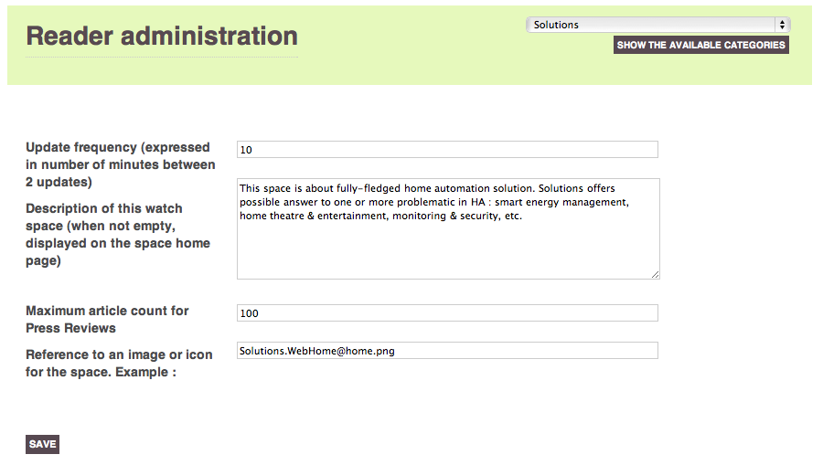 Screenshot of the reader administration